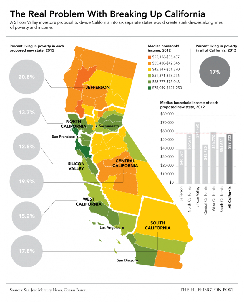This Map Shows Why The Plan To Split Up California Would Be A regarding Splitting California Into Two States Map