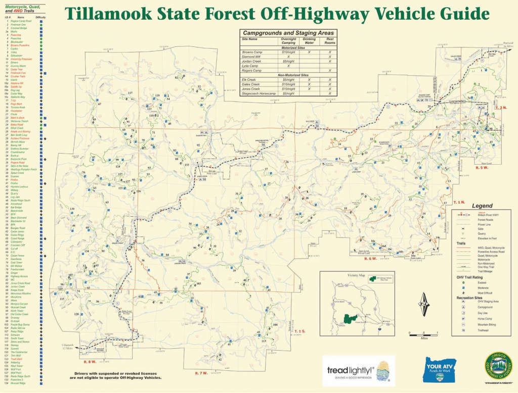 Tillamook State Forest (Tsf) - October 30-31, 1998 with regard to Tillamook State Forest Camping Map