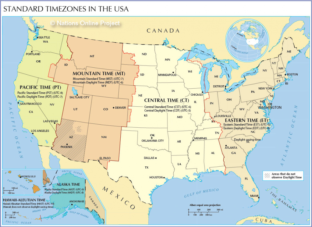 Time Zone Map Of The United States - Nations Online Project inside Map Of Time Zones In United States