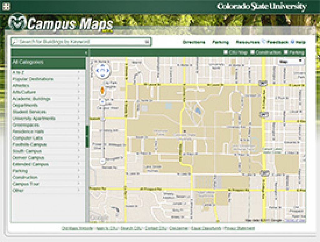 Today @ Colorado State University - Csu Launches New Campus Maps Web regarding Colorado State Campus Map