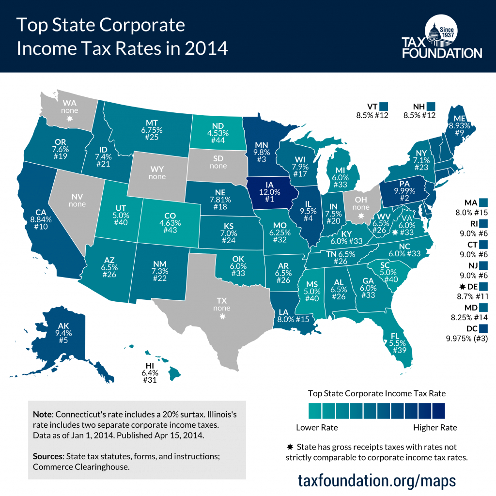 Top State Corporate Income Tax Rates In 2014 - Tax Foundation intended for States Without Income Tax Map