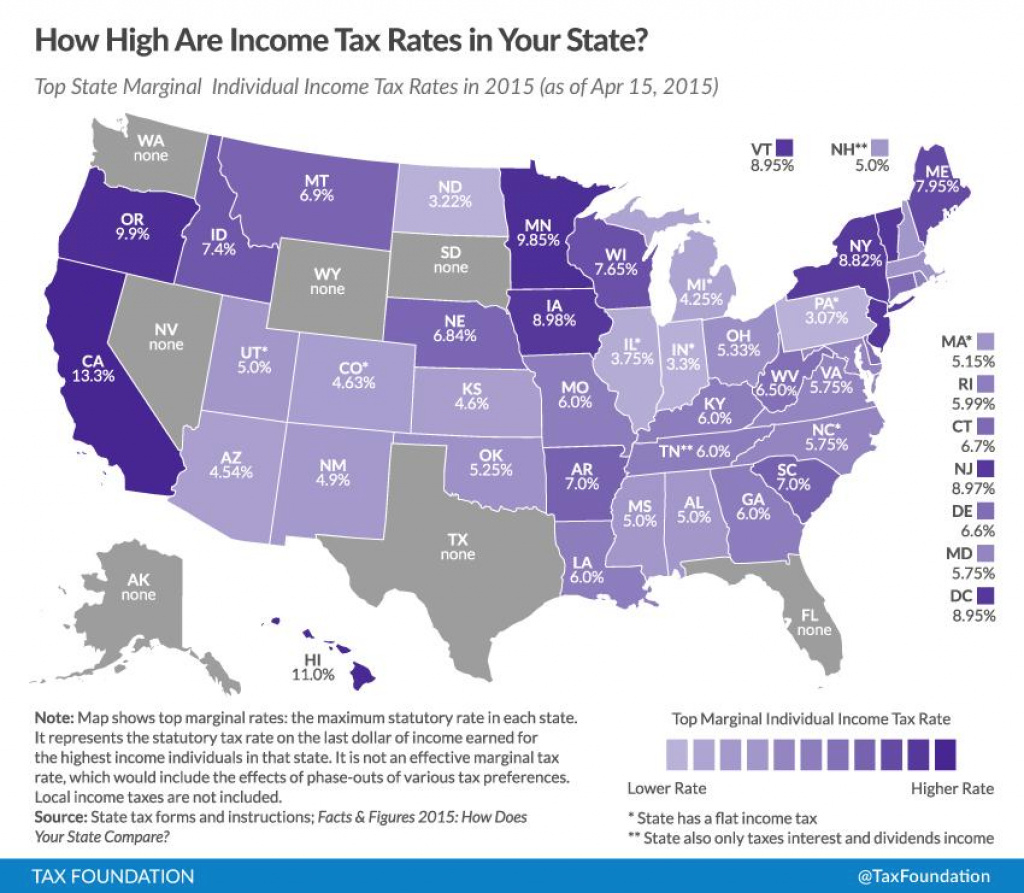 Top State Marginal Income Tax Rates 2015 - Skloff Financial Group inside State Income Tax Map