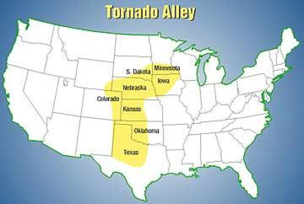 Tornado Alley Moves Eastward | Krcu regarding Tornado Alley States Map