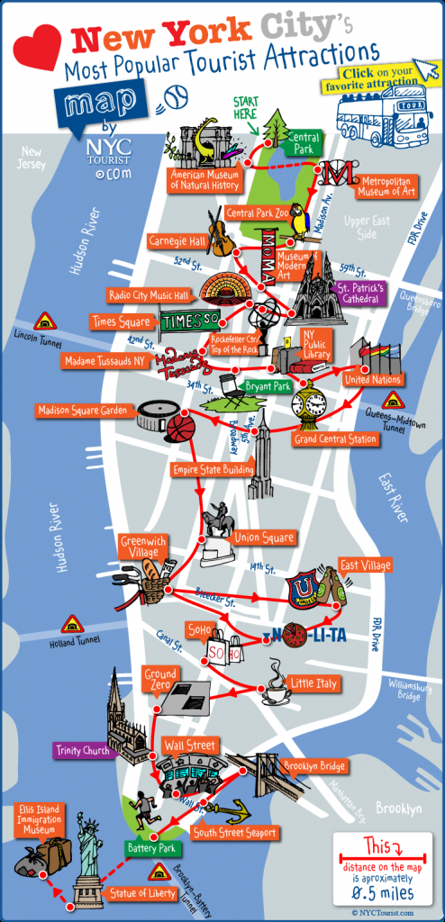 Tourist Map Of New York City Attractions, Sightseeing, Museums within New York State Landmarks Map