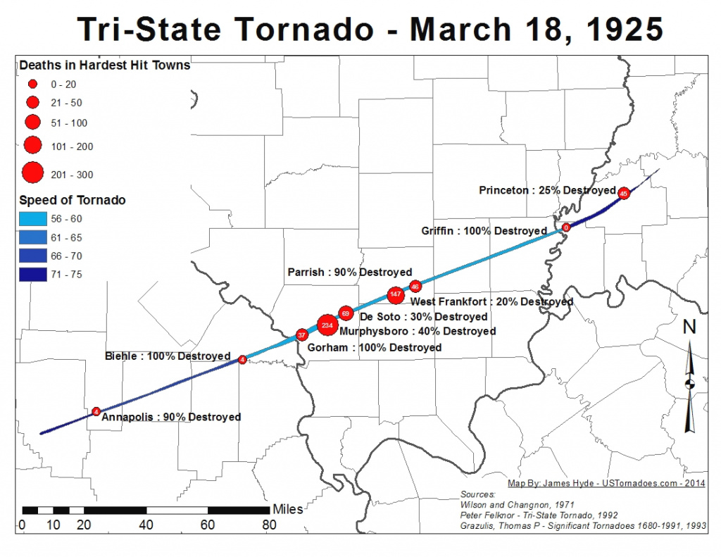 Tri-State Tornado Map - U.s. Tornadoes within Tri State Map