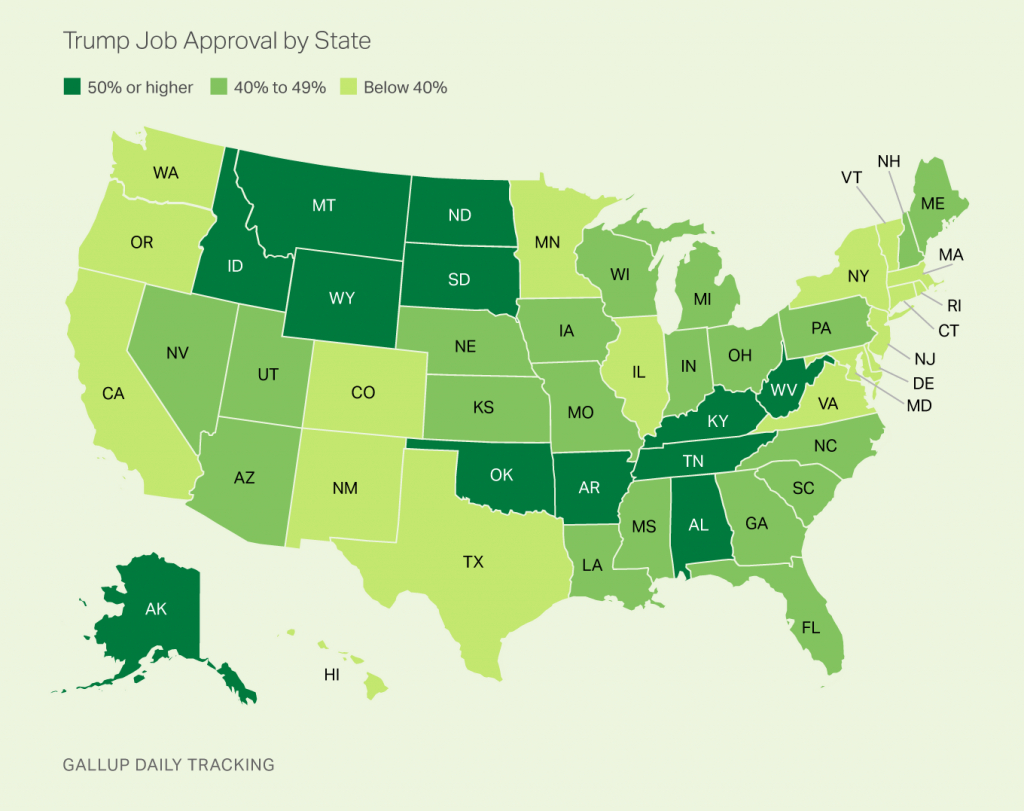 Trump's Approval Highest In West Virginia, Lowest In Vermont within Trump Support By State Map