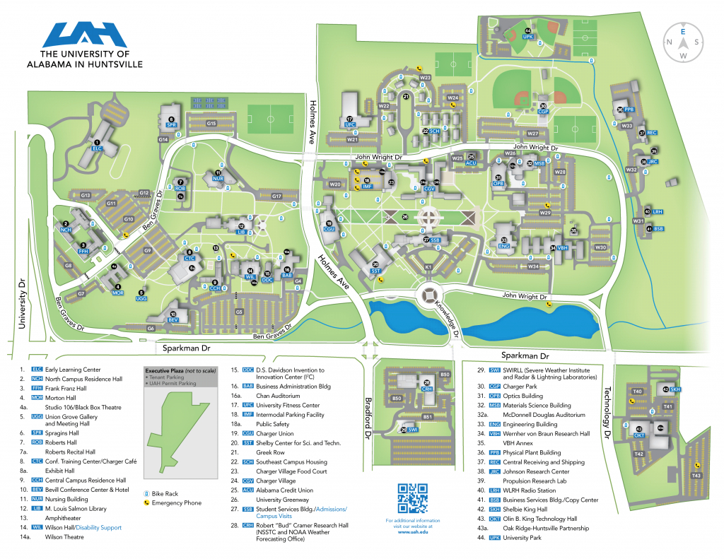 Uah - Campus Map | 2017-2018 intended for Central State University Campus Map