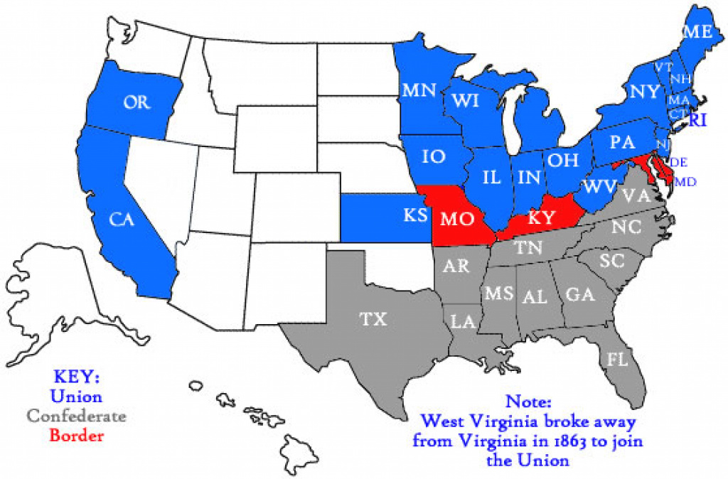 Union And Confederacy In The Civil War « throughout Civil War Map Union And Confederate States