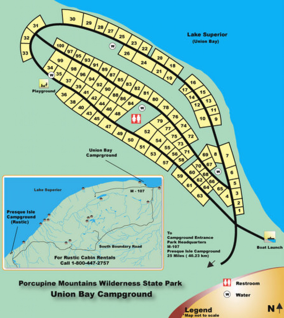 Union Bay Modern Campground ⋆ Michigan Miles within Michigan State Park Campgrounds Map
