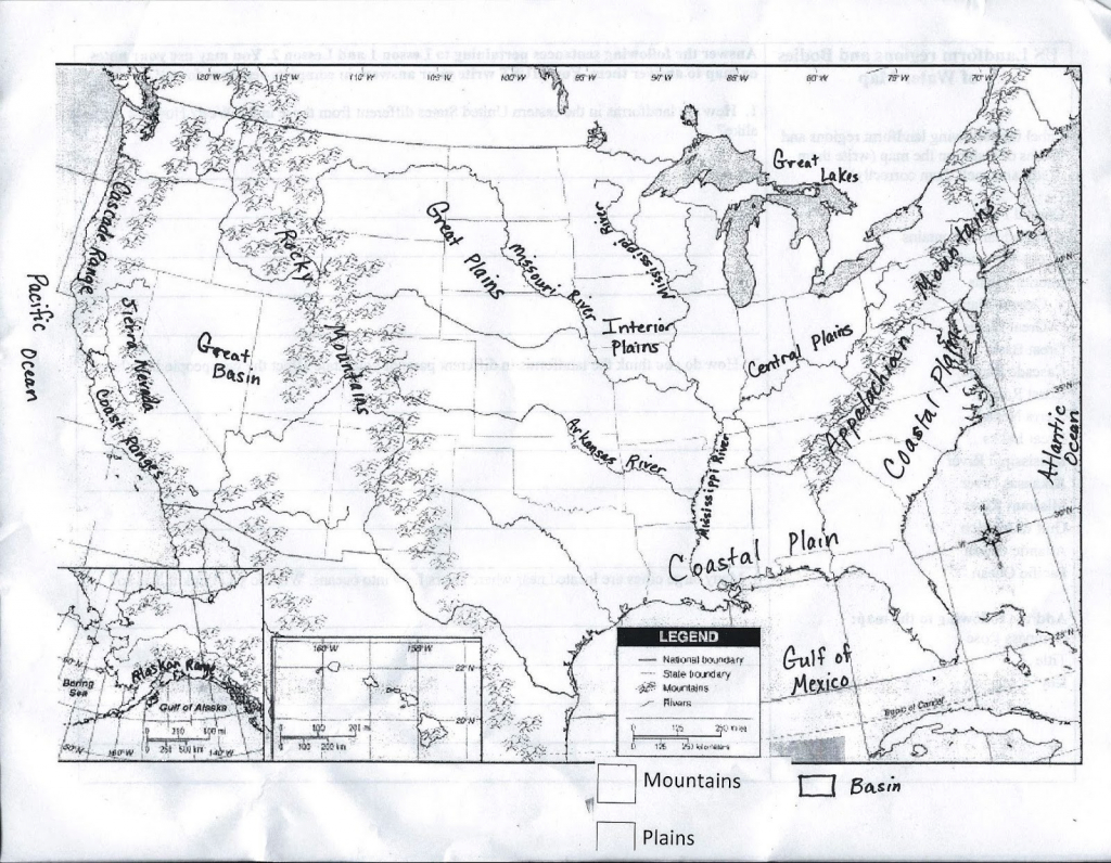United States And Canada Map Physical Features Inspirationa United intended for United States Physical Map Worksheet