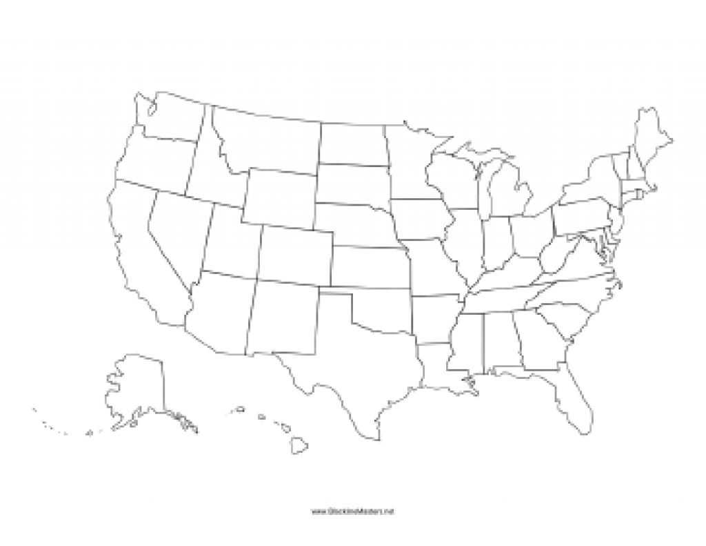 United States Blackline Map regarding Blackline Maps Of The United States