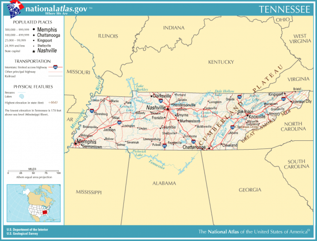 United States Geography For Kids: Tennessee with Tennessee Alabama State Line Map