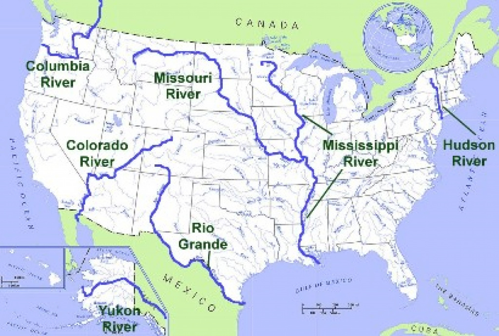 United States Geography: Rivers for United States Map With Rivers And Lakes And Mountains