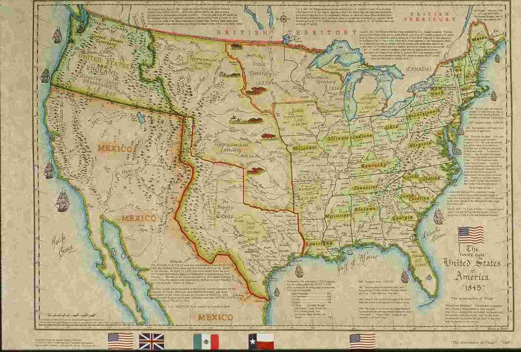 United States Historical Maps - United States Genealogy & History with Map Of United States 1845