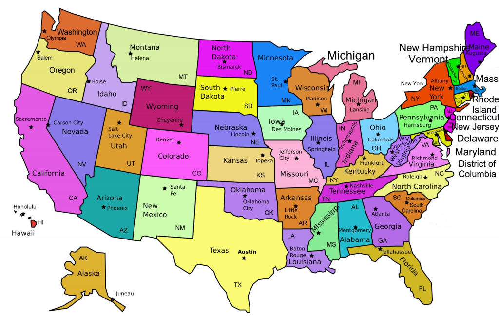 United States Map Capitals Labeled New Amazing Us Map With States pertaining to United States Of America Map With Capitals