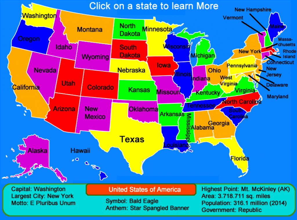 United States Map – Click And Learn « for 50 States Map