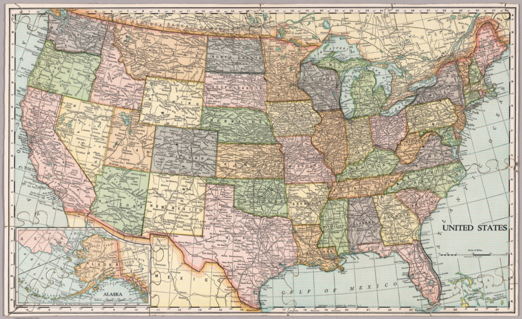 United States Map. Die-Cut On State Lines. - David Rumsey Historical intended for Us Map With State Lines