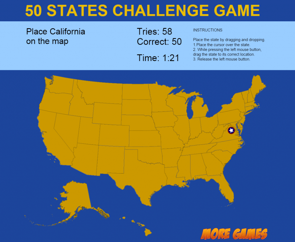 United States Map Game - 50 States Challengedexterfly | Codecanyon throughout State Map Game