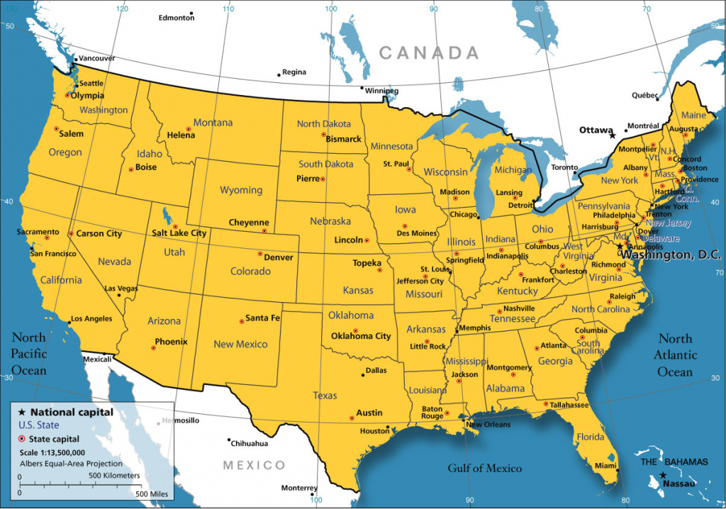 United States Map - Nations Online Project regarding Us Map With State Borders