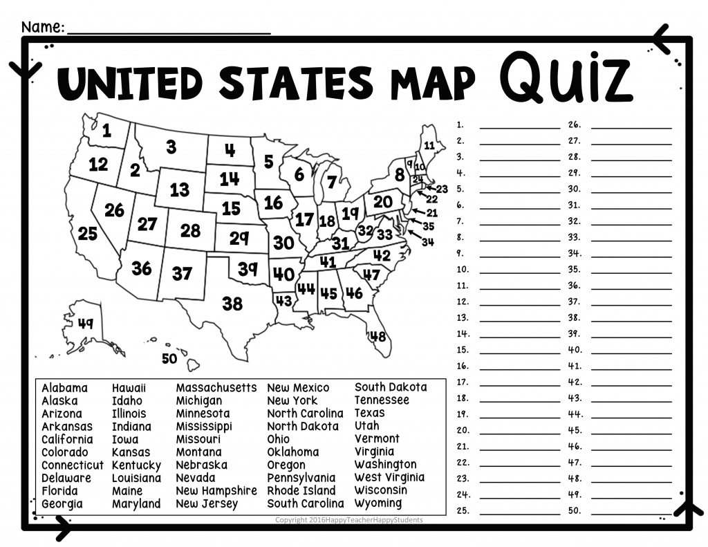 United States Map Quiz Printout Free World Maps Collection – Xtgn with regard to Blank Us State Map Quiz