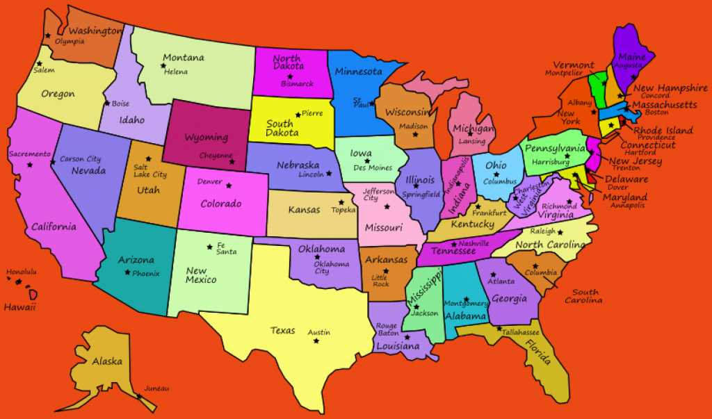 United States Map With Capital And Travel Information   Download within 50 States Map With Capitals