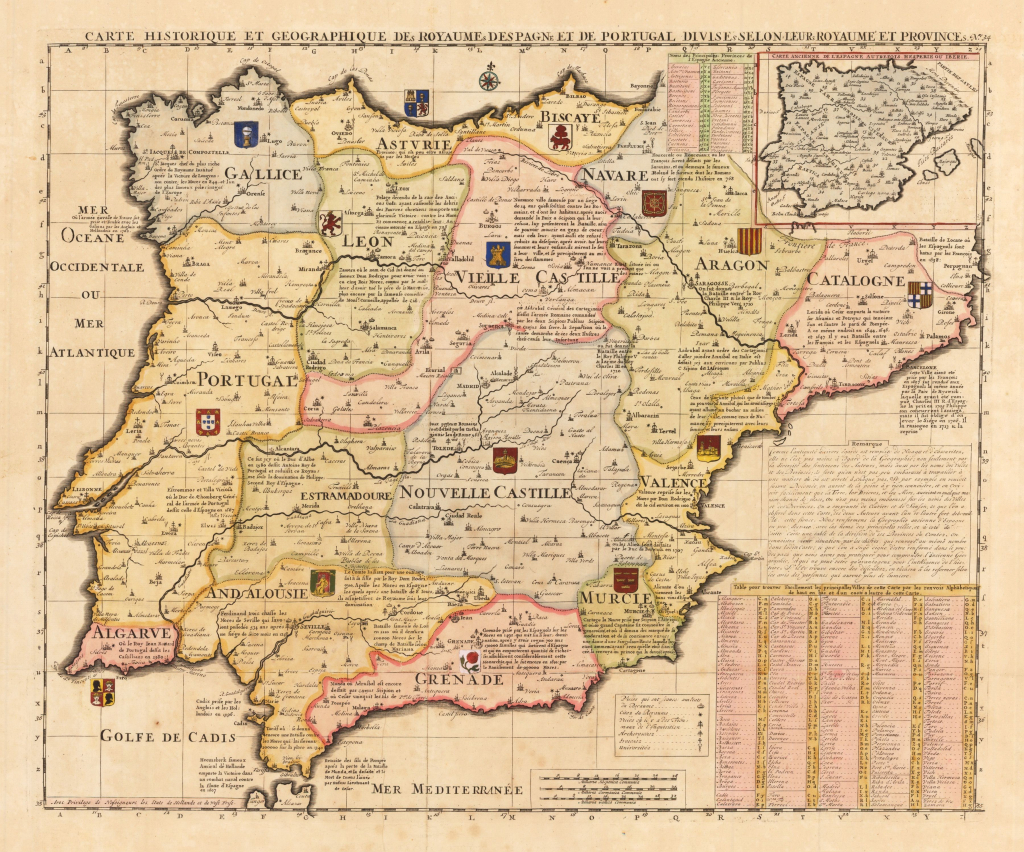 United States Map With Cities In Spanish New Old United States Map within Spain States Map