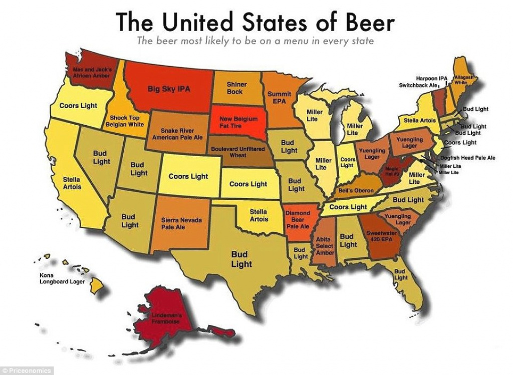 United States Of Beer Map Reveals Most Likely Brew To Be Served In inside State Of The Map Us 2015