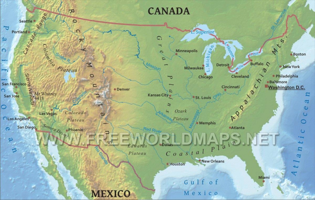 United States Physical Map with United States Map With Rivers And Lakes And Mountains