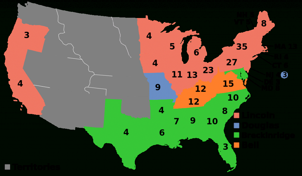 United States Presidential Election, 1860 - Wikipedia with regard to Electoral Votes By State Map
