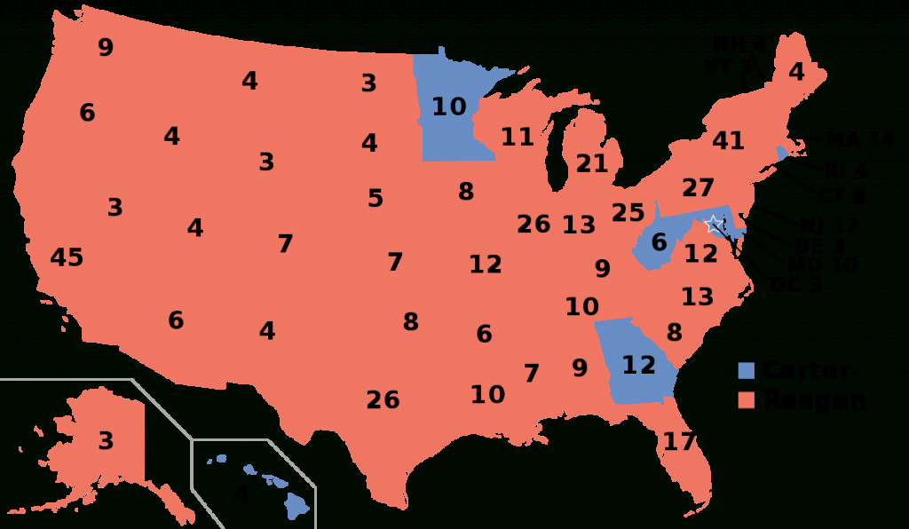 United States Presidential Election, 1980 - Wikipedia with 1980 Presidential Election Results By State Map