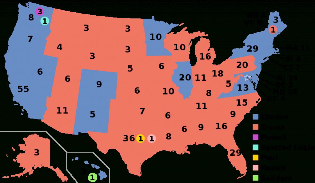 United States Presidential Election, 2016 - Wikipedia intended for 2016 Electoral Map By State