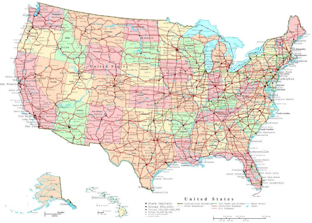 United States Printable Map intended for Printable Map Of The United States