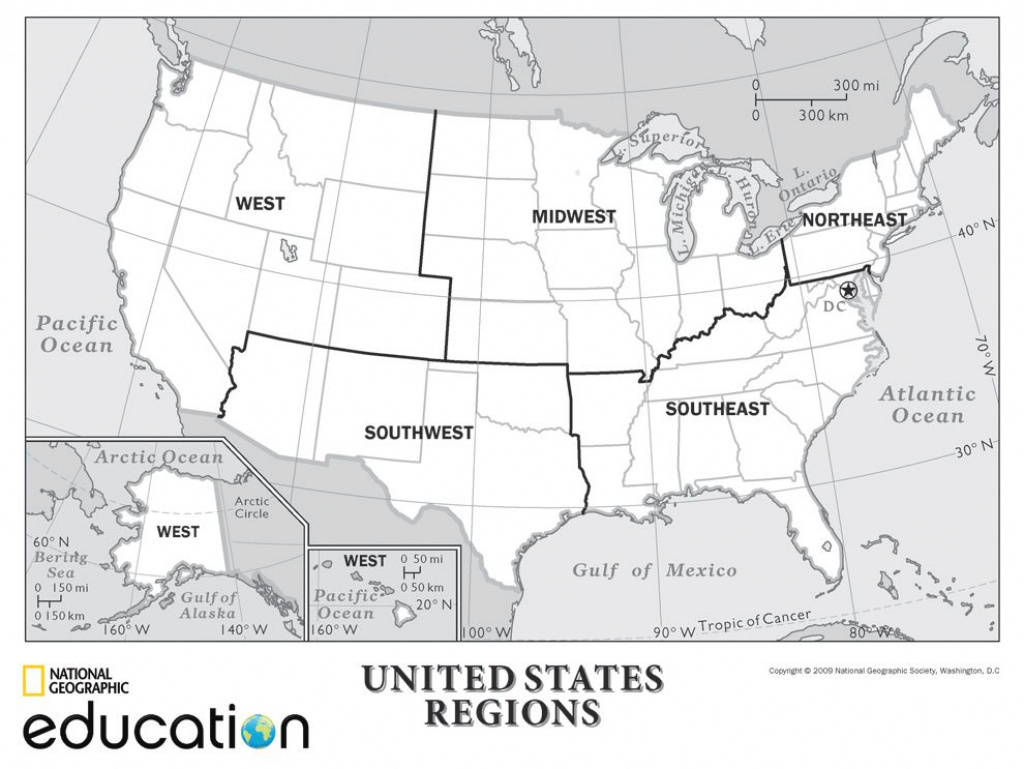 United States Regions   National Geographic Society with regard to United States Map Divided Into 5 Regions