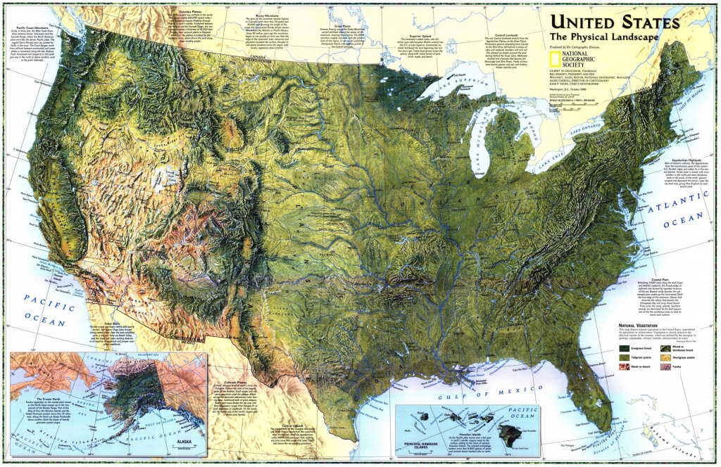 """United States: The Physical Landscape"""" 1996 Mapnational for Geographic United States Map"""