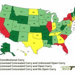 Updated Constitutional Carry, Conceal Carry, & Open Carry Map For 2017 Regarding Open Carry States Map 2017