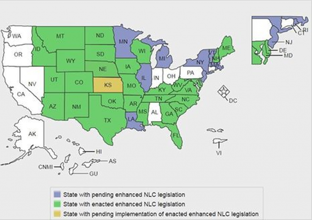 Updated Map: Enhanced Nursing Licensure Compact (Enlc) Jan. 2018 in Compact State Nursing Map