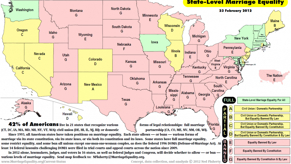 Updated Map Of Legal Status Of Same-Sex Marriage - Sociological Images inside Map Of States Legalized Gay Marriage