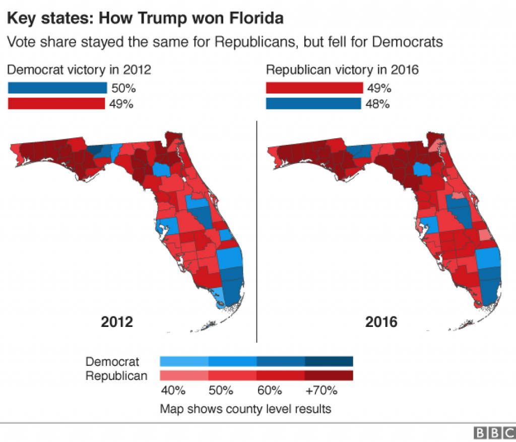 Us Election 2016: Trump Victory In Maps - Bbc News with States Trump Won Map