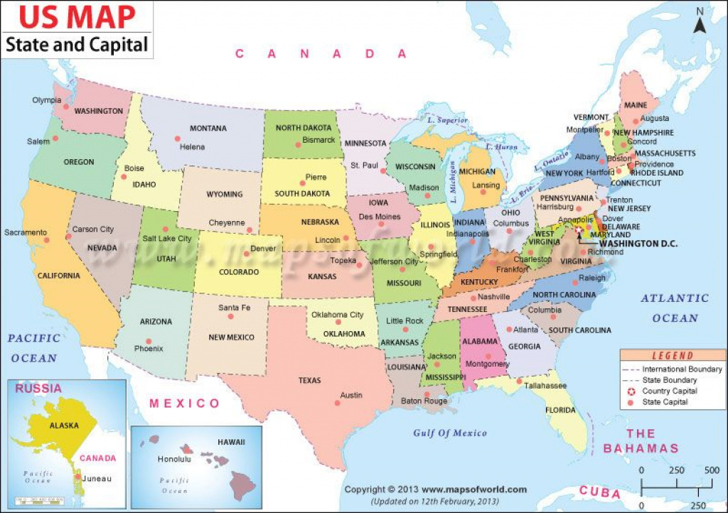 Us #map Shows The 50 States Boundary Their Capital Cities Along With inside North America Map With States And Capitals