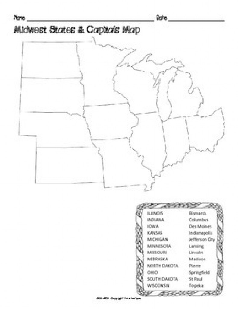 Us Midwest Region States & Capitals Mapsmrslefave | Tpt regarding Blank Map Of Midwest States
