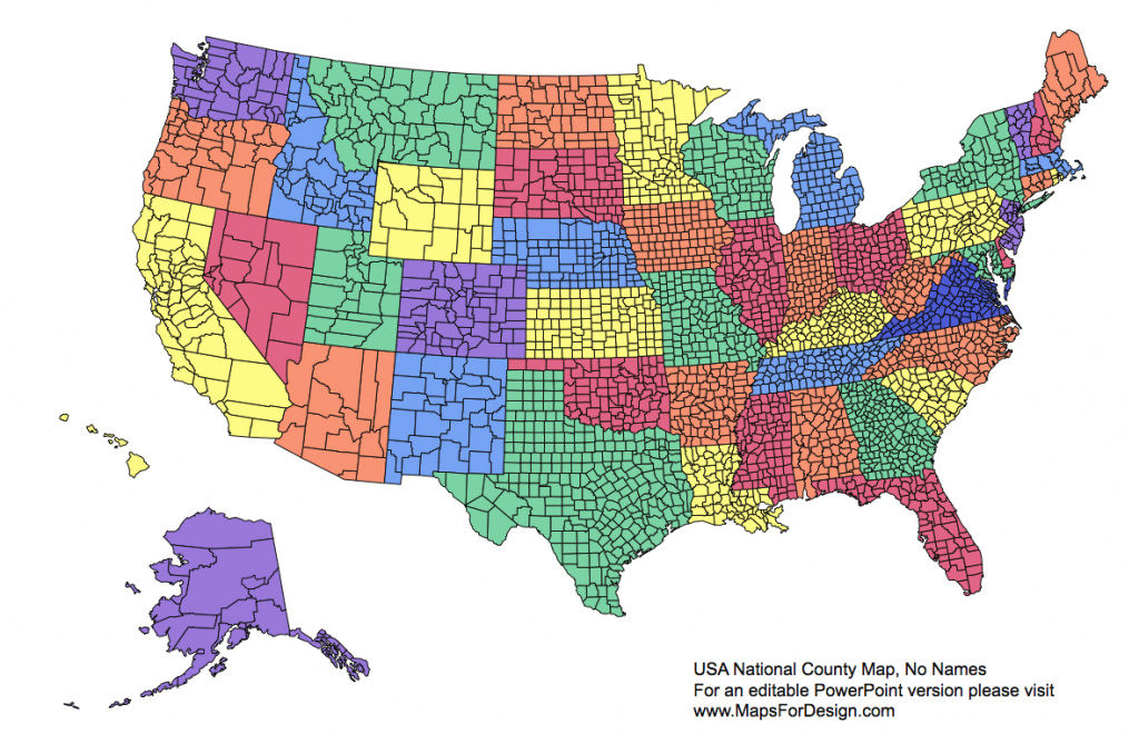 Us National County, Editable County Powerpoint Map For Building regarding United States County Map