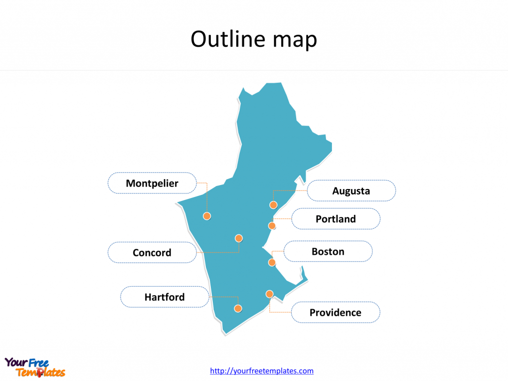 Us New England Map - Free Powerpoint Templates with Map Of New England States And Their Capitals