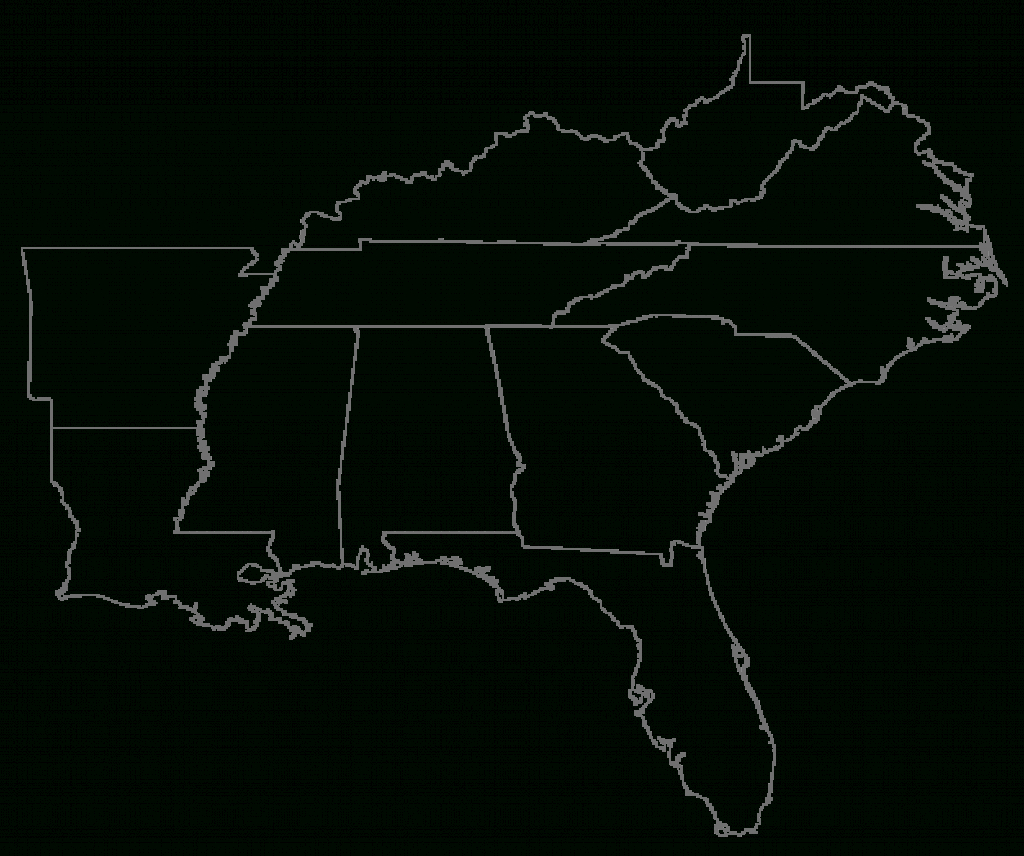 Us Southeast Region Blank Map Map Of Southeastern Us Usa Region For within Blank Map Of Southeast United States