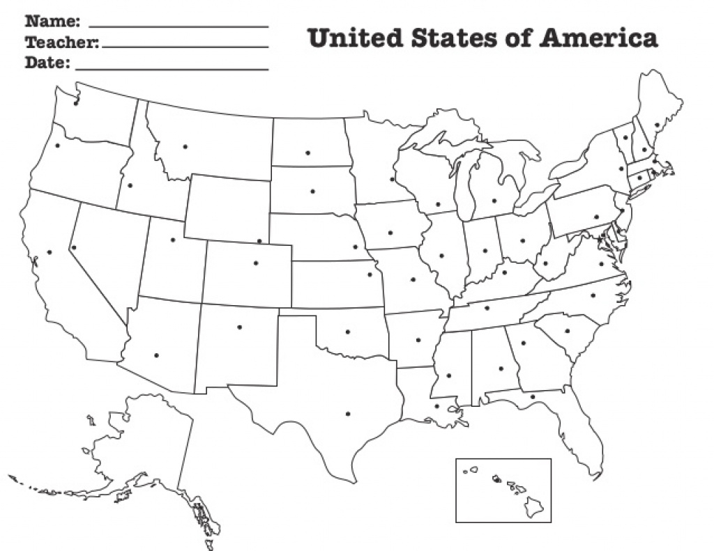 Us State Capitals Location Map In Blank Us Map For Capitals - Free with Blank States And Capitals Map