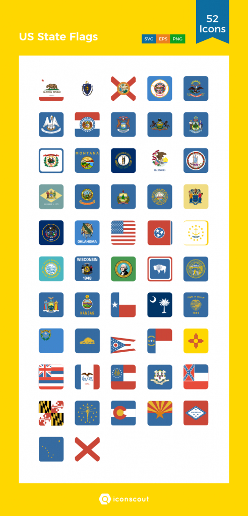 Us State Flags Icon Pack - 52 Flat Icons | Flag & Maps | Pinterest within Google Maps State Icons