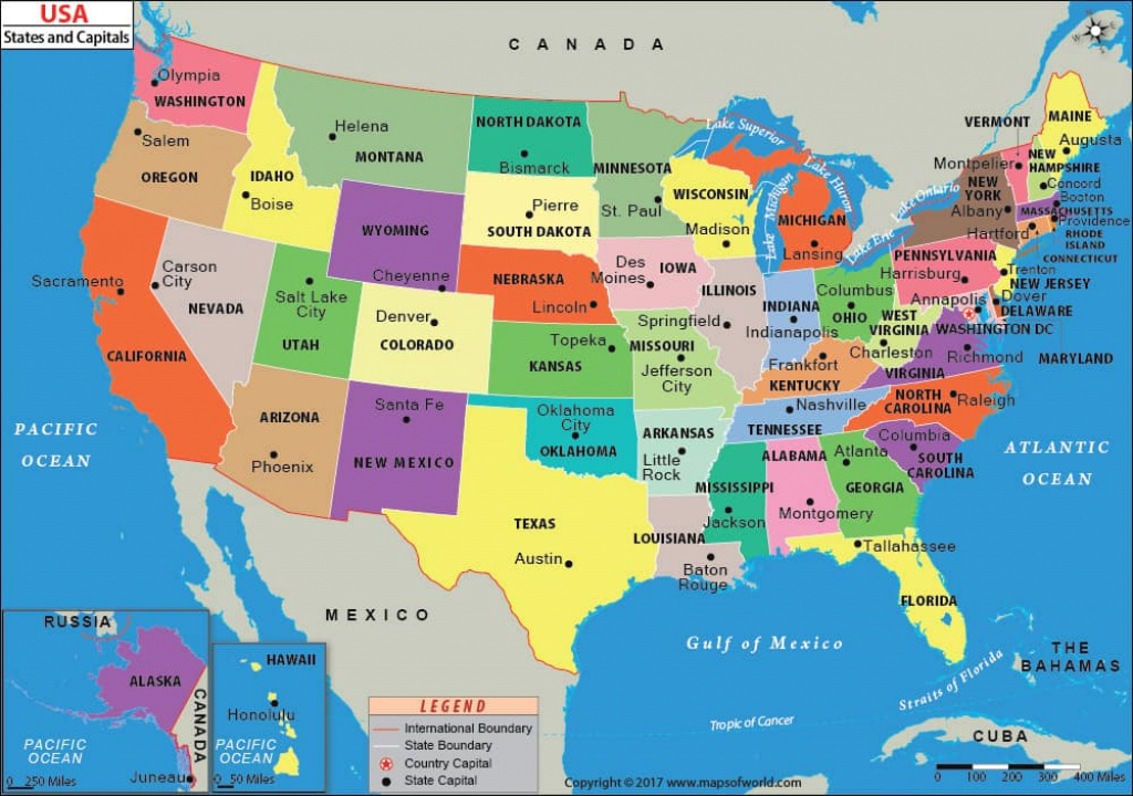 Us States And Capitals Map pertaining to United States Of America Map With Capitals