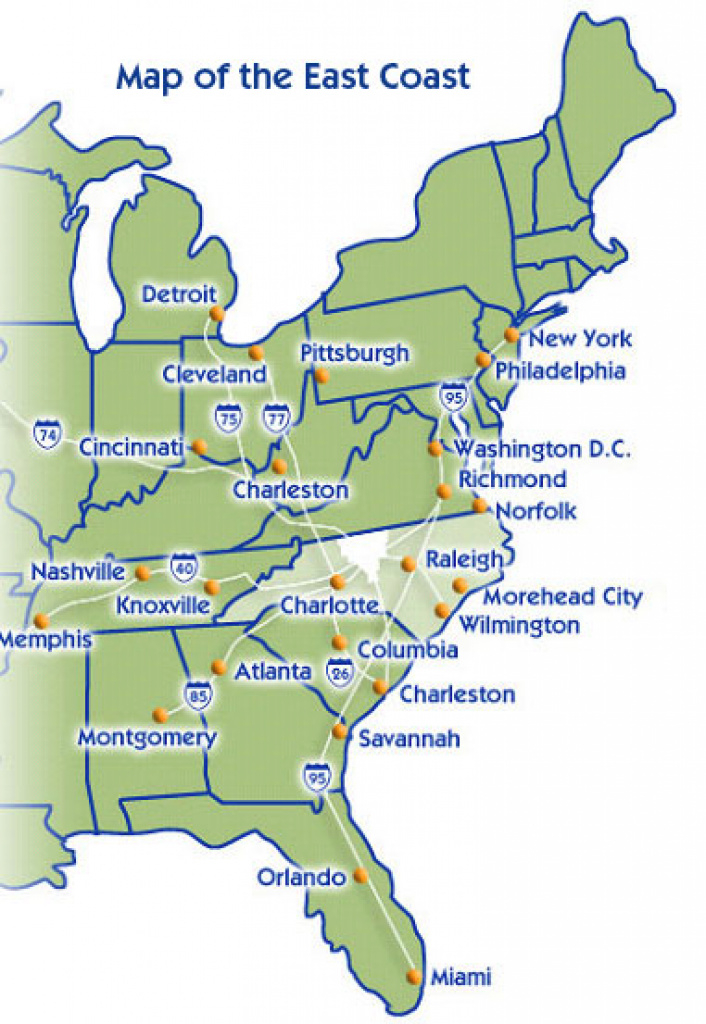 Us States Map East Coast And Travel Information | Download Free Us in East Coast States Map