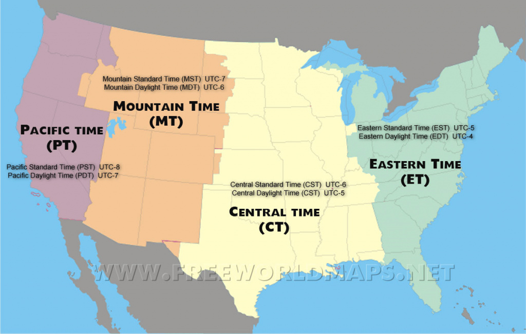 Us Time Zones Map within United States Of America Time Zone Map