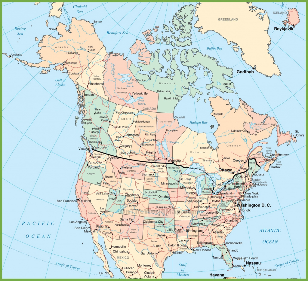 Usa And Canada Map inside United States Canada Map