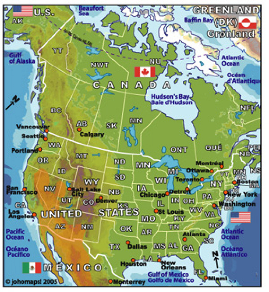 Usa And Canada Physical Features Map - 28 Images - Physical Map Quiz regarding United States And Canada Physical Map